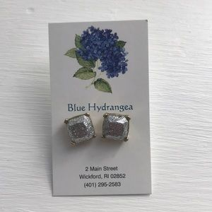 NEW Sparkly silver square earrings
